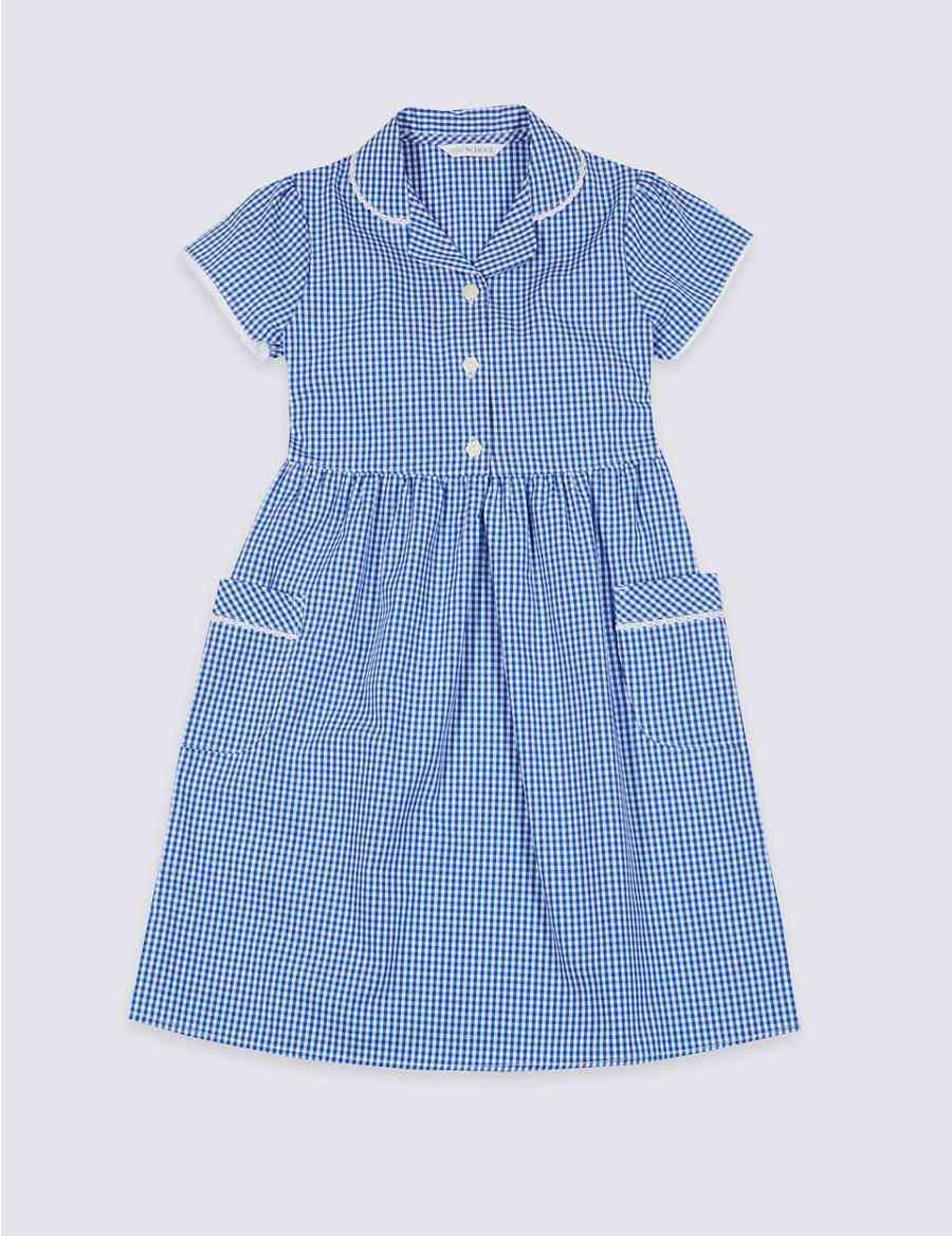 dc0557fce1 Girls  Plus Fit Gingham Pure Cotton Dress
