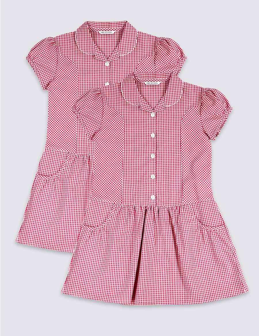 f7c0cb295f6 2 Pack Girls  Plus Fit Cotton Rich Dress