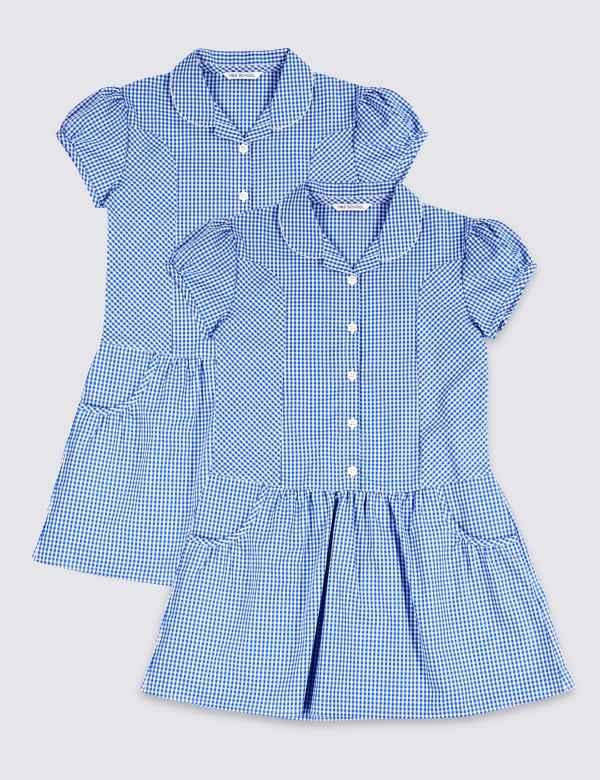755176f6d22 2 Pack Girls  Plus Fit Cotton Rich Dress