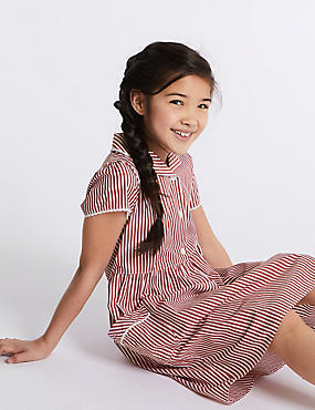 Girls' Pure Cotton Striped Dress