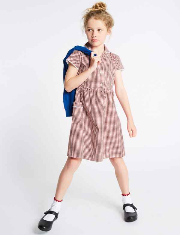 f1e08356ab9 Girls  Plus Fit Gingham Pure Cotton Dress