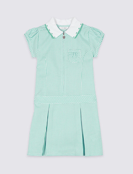 Girls' Plus Fit Pleated Gingham Dress