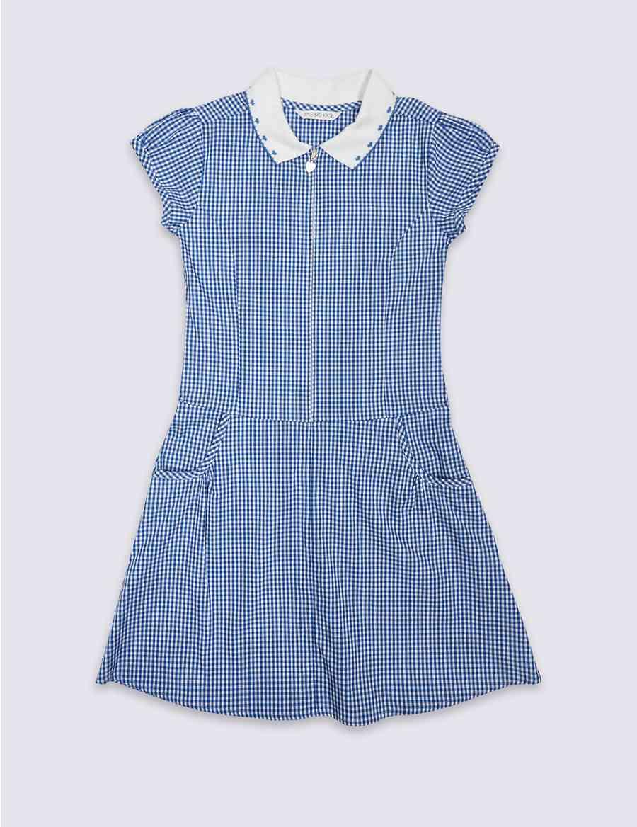Girls Gingham Pure Cotton Dress Ms