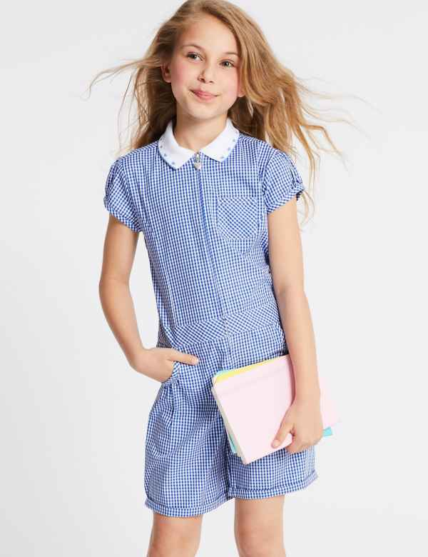 c1a94feb9f Girls  Gingham Pure Cotton Playsuit