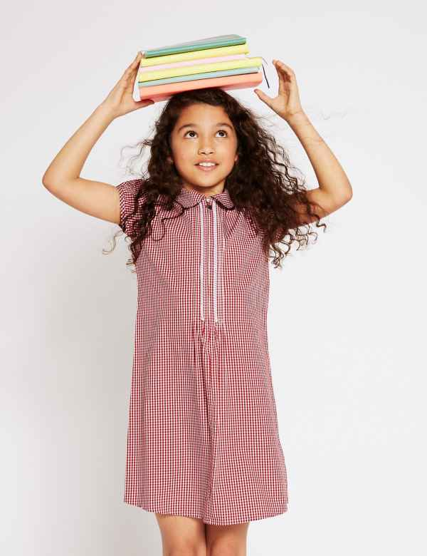 762d10f3d1 Girls' Pure Cotton Gingham Zip Front Dress
