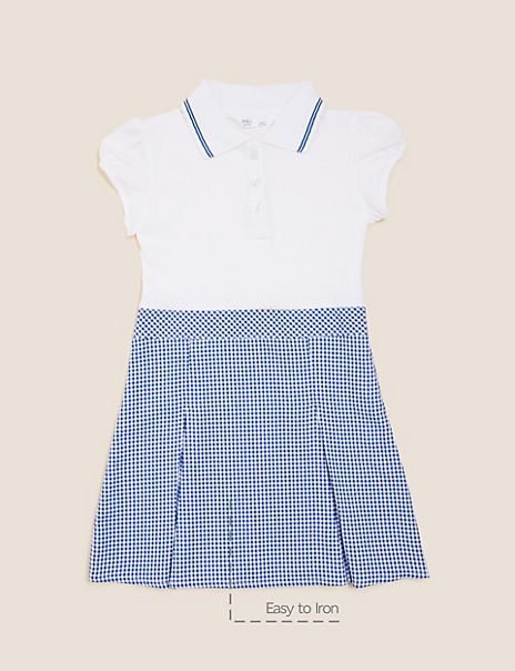 Girls' 2 in 1 Gingham Pleated Dress