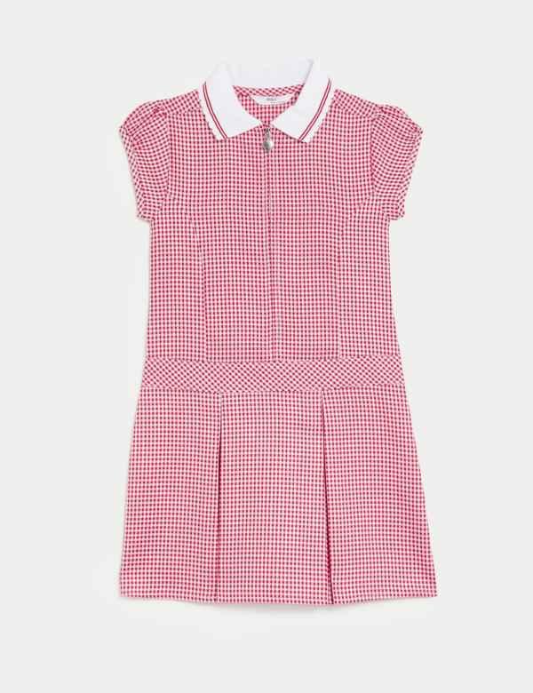 New Look Girls School Uniform Sleeveless Pini Pinafore Pleated Dress with Zip /& Button ~ Kids Round Shape Bib Style Dress