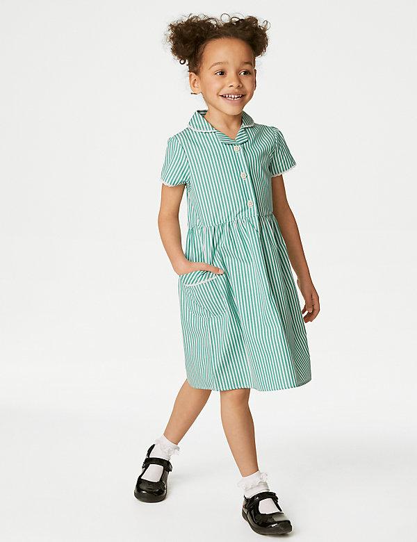 Schooljurk van puur katoen met streepmotief voor meisjes (2-14 jaar)