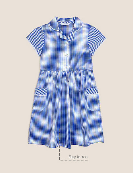 Girls' Pure Cotton Gingham Dress