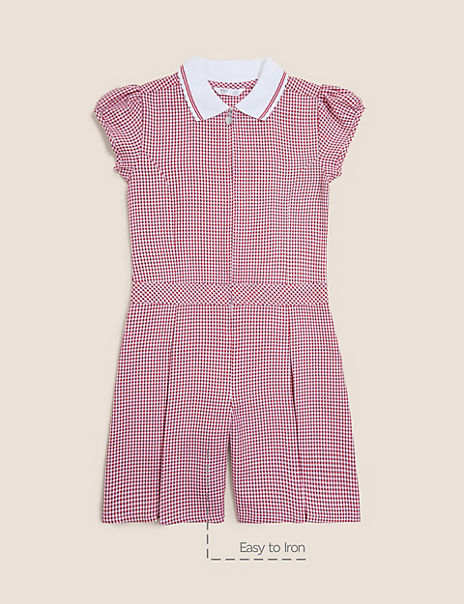 Girls' Gingham Pleated Zip Playsuit