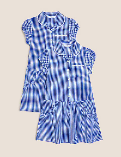 2 Pack Girls' Cotton Rich Gingham Dresses