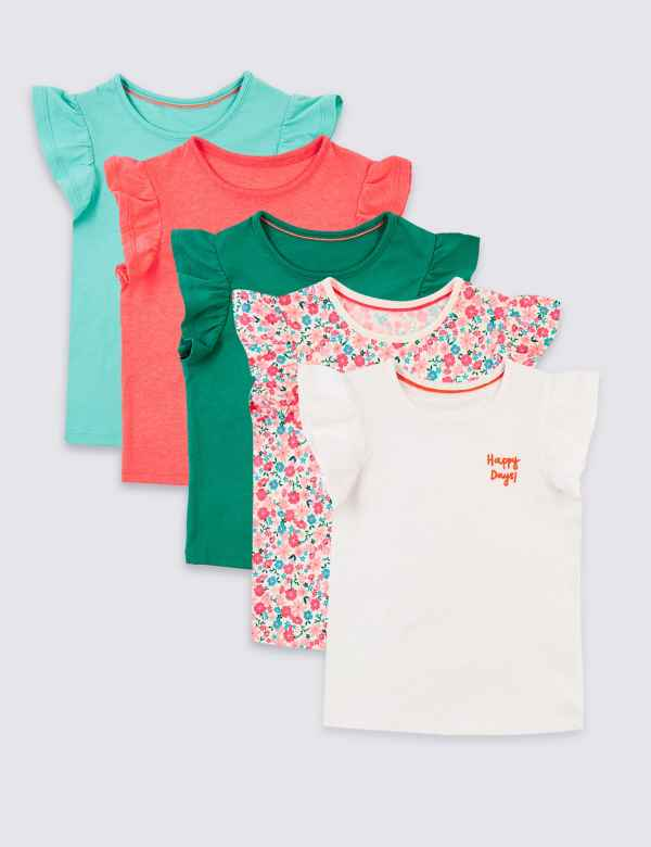 e019f8eecdec 5 Pack Frill T-Shirts (3 Months - 7 Years)