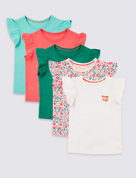 5 Pack Frill T-Shirts (3 Months - 7 Years)