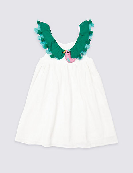 Pure Cotton Bird Dress (3 Months - 7 Years)