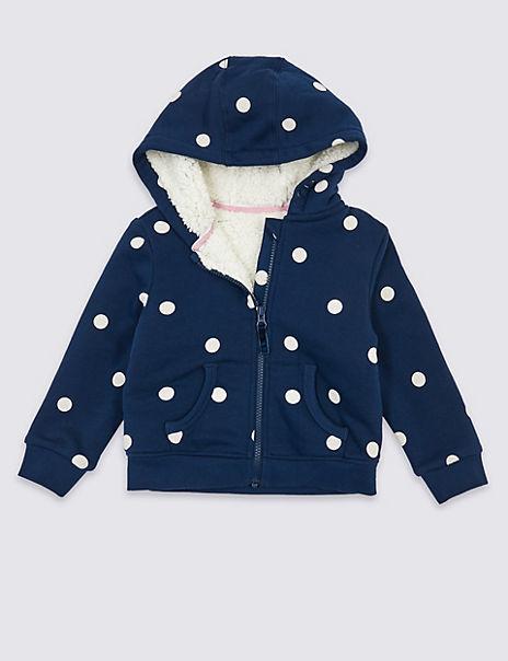 Polka Dot Fleece Lined Hoodie (3 Months – 7 Years)