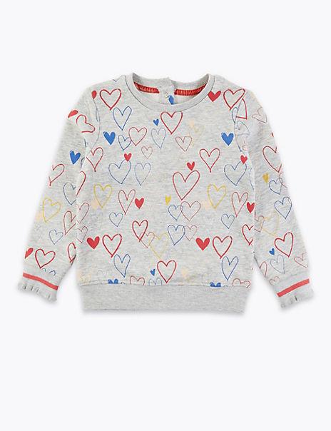 Heart Print Sweatshirt (3 Months - 7 Years)