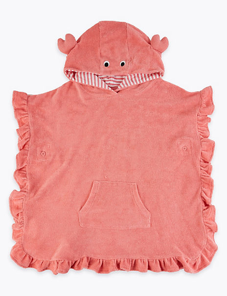 Cotton Rich Hooded Crab Poncho (2-7 Years)