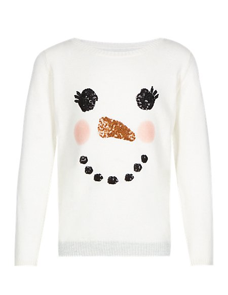 Sequin Embellished Snowman Jumper with Wool (1-7 Years)