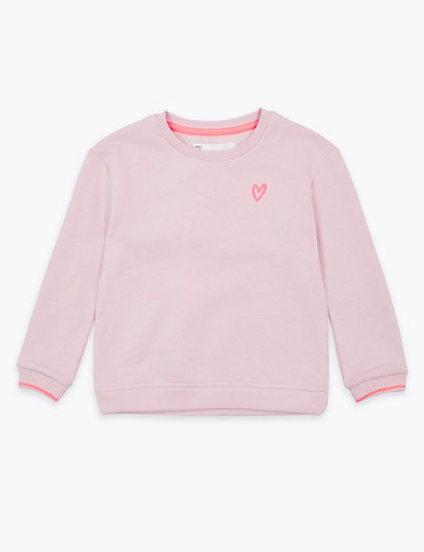 Cotton Rich Embroidered Heart Sweatshirt (2-7 Years)