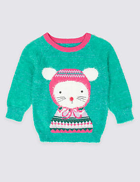 Knitted Mouse Jumper (3 Months - 7 Years)