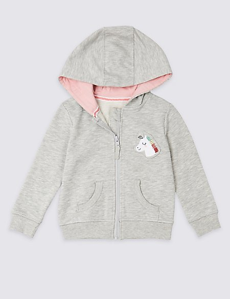 Unicorn Badge Hooded Top (3 Months - 7 Years)