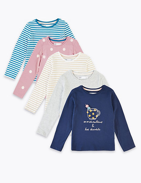 5 Pack Cotton Rich Marshmallows Slogan Tops (3 Months - 7 Years)
