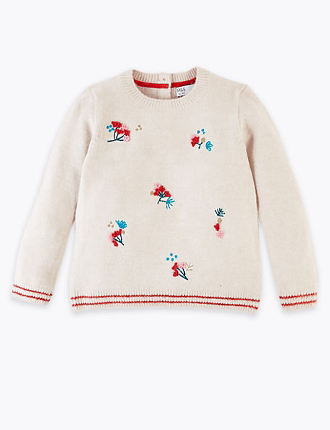 Floral Embroidered Knitted Jumper (3 Months - 7 Years)