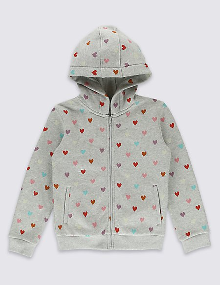 Cotton Rich Heart Print Hooded Top (1-7 Years)