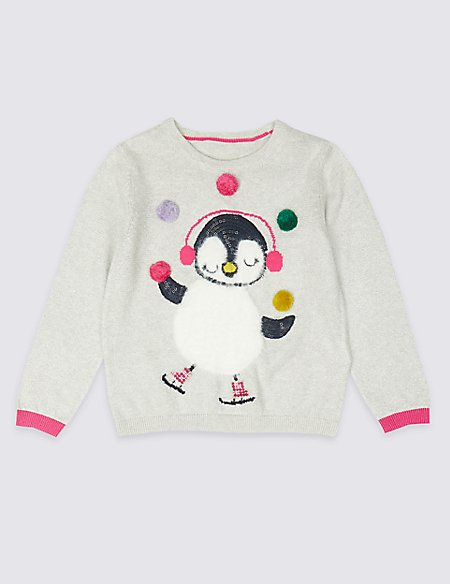 Penguin Knitted Jumper (3 Months - 7 Years)