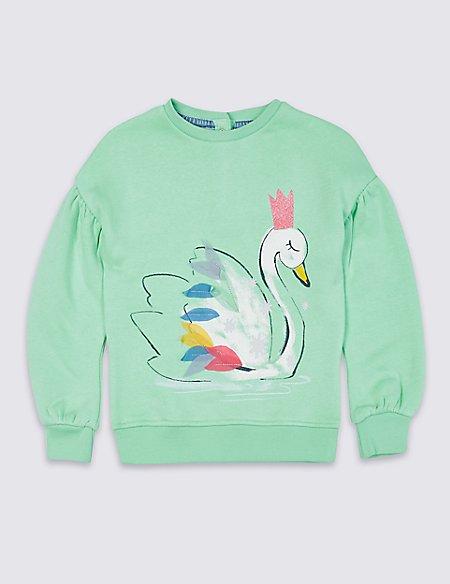 Cotton Rich Swan Sweatshirt (3 Months - 7 Years)