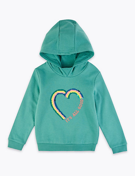 Cotton Rich Reversible Sequin Heart Hoodie (2-7 Years)