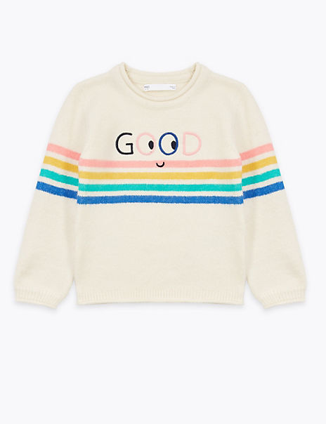 Embroidered Good Slogan Jumper (2-7 Years)