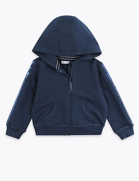Cotton Rich Reversible Sequin Hoodie (2-7 Years)