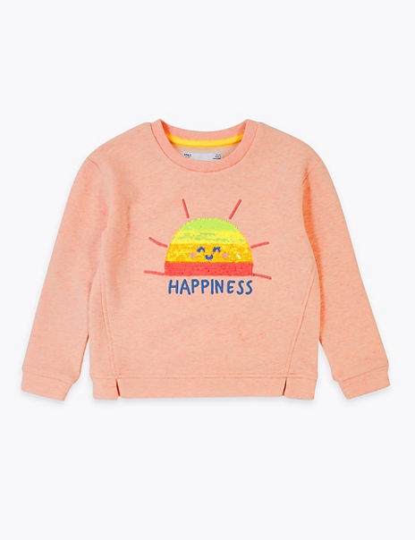 Sequin Happiness Slogan Sweatshirt (2-7 Years)