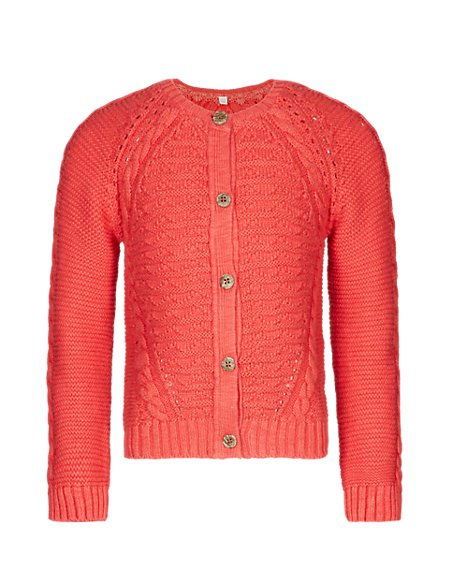 Pure Cotton Cable Knit Cardigan (1-7 Years)