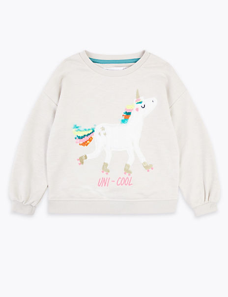 Cotton Rich Unicorn Sweatshirt (2-7 Years)