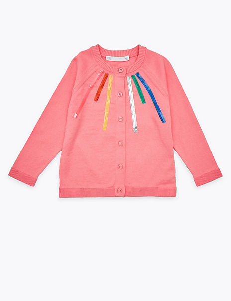 Cotton Sequin Striped Cardigan (2-7 Years)