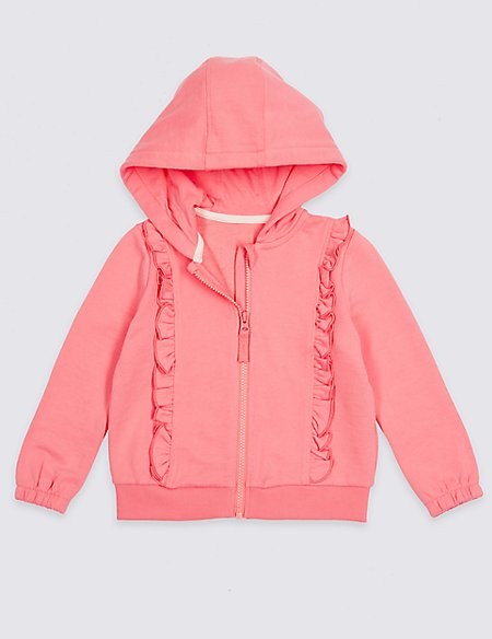 Cotton Rich Frill Hooded Top (3 Months - 7 Years)