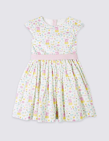 Pure Cotton Peppa Pig™ Dress with Belt (1-5 Years)   M&S
