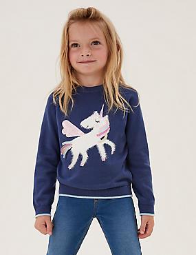 Pure Cotton Sequin Unicorn Jumper (2-7 Yrs)