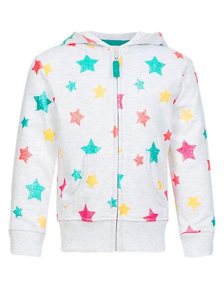 Star Print Hooded Sweat Top