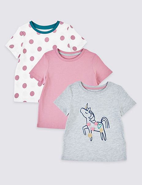 3 Pack Unicorn Print T-Shirts (3 Months - 7 Years)