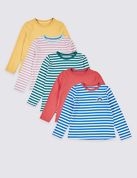 5 Pack Multi Stripe Long Sleeve T-Shirts (3 Months - 7 Years)