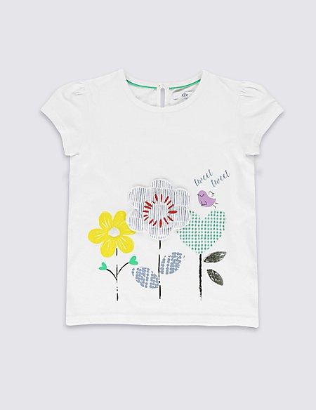Pure Cotton Floral Appliqué T-Shirt (1-7 Years)