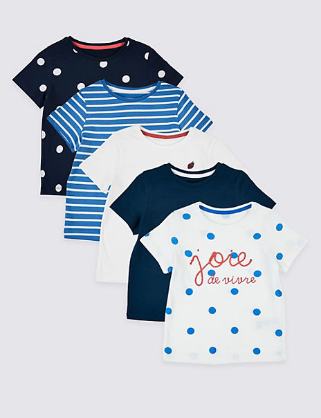 5 Pack Pure Cotton Spots & Stripes T-Shirts (3 Months - 7 Years)