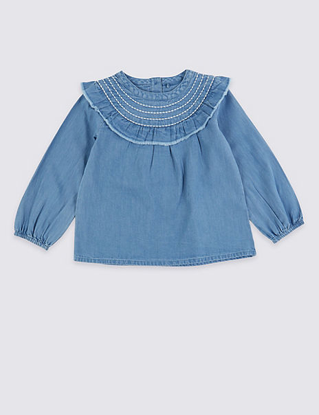 Chambray Frill Blouse (3 Months - 7 Years)