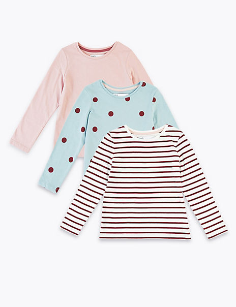 3 Pack Cotton Patterned Tops (3 Months - 7 Years)