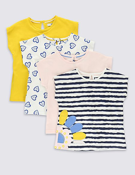 4 Pack Pure Cotton Assorted T-Shirts (1-7 Years)