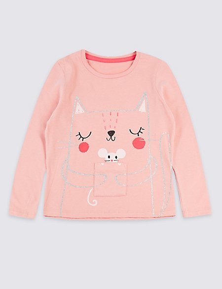 Pure Cotton Cat & Mouse Top (3 Months - 7 Years)