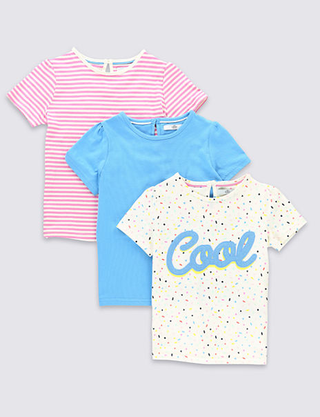 3 Pack Pure Cotton Assorted T-Shirts (1-7 Years)